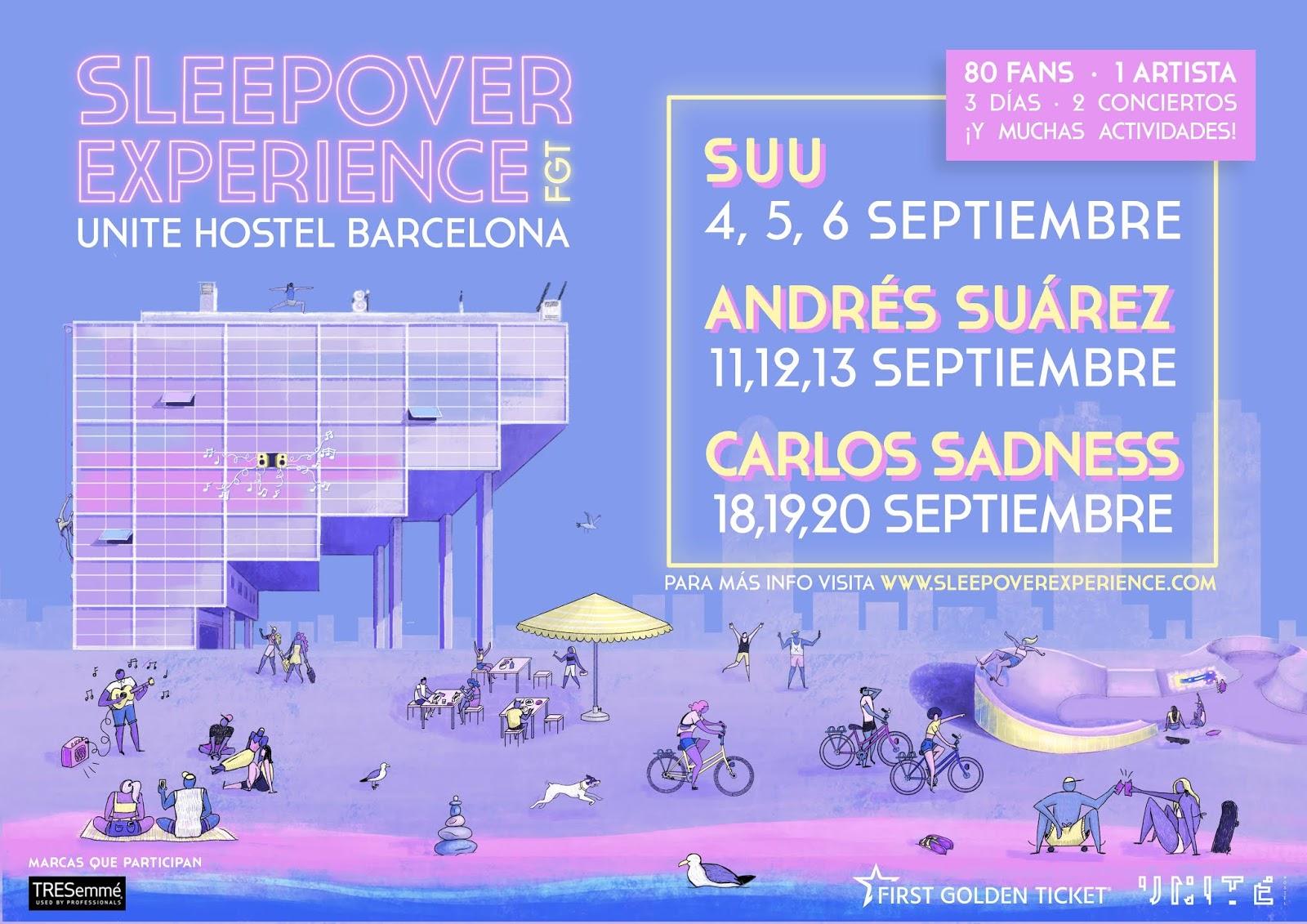 Carlos Sadness, Andrés Suárez y Suu pasarán fines de semana con 80 fans en un hotel de Barcelona
