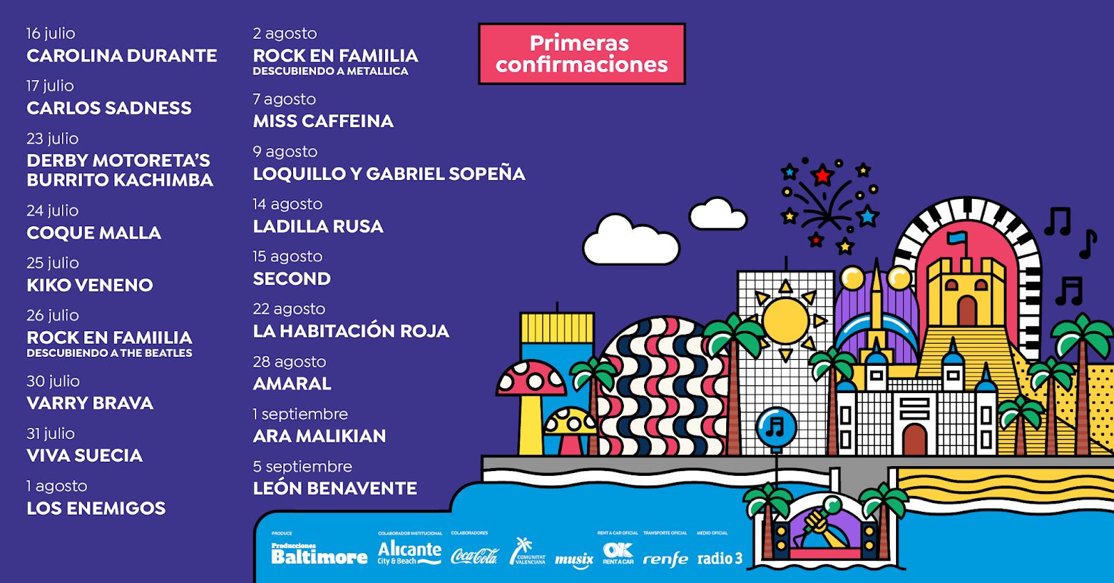 Noches Mediterráneas en Alicante: León Benavente, Second, Amaral, Viva Suecia, Coque Malla, La Habitación Roja, Loquillo y Gabriel Sopeña…