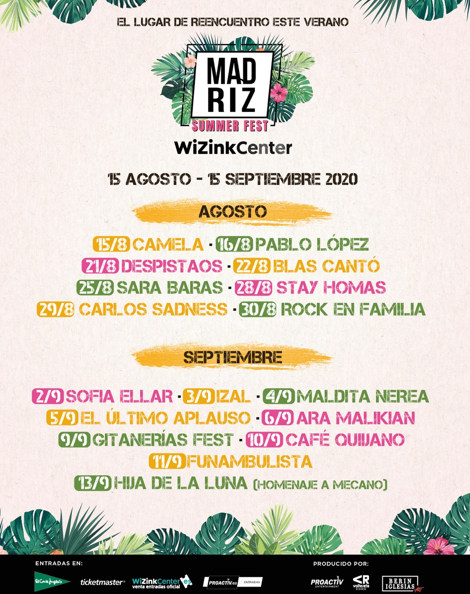Madriz Summer Fest en el WiZink Center: IZAL, Carlos Sadness, Camela, Despistaos, Pablo López, Ara Malikian, Maldita Nerea…