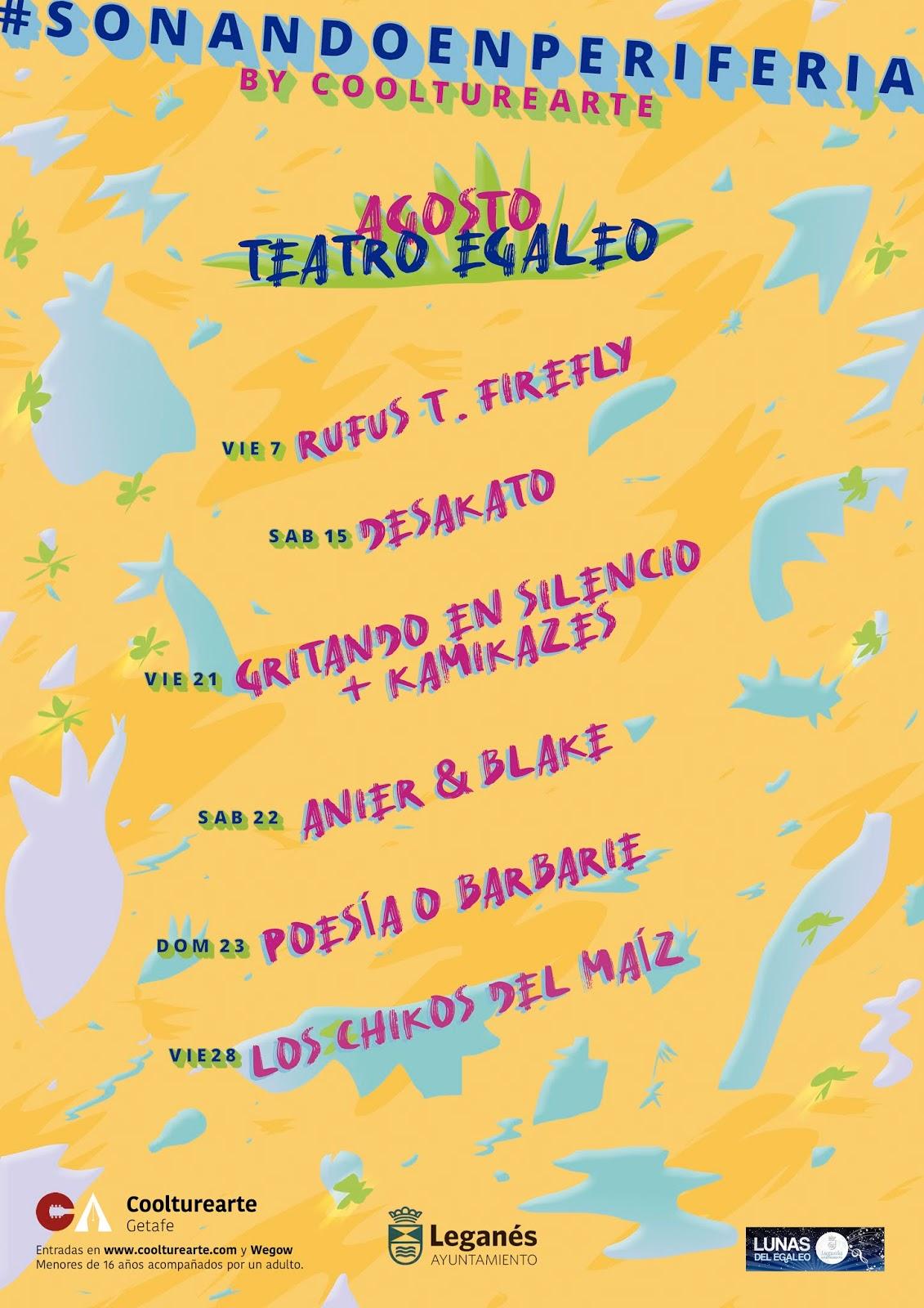Conciertos en agosto en el Teatro Egaleo de Leganés: Rufus T. Firefly, Desakato, Los Chikos del Maíz, Gritando en Silencio…
