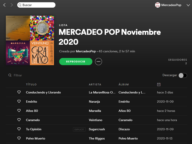 playlists mercadeo pop
