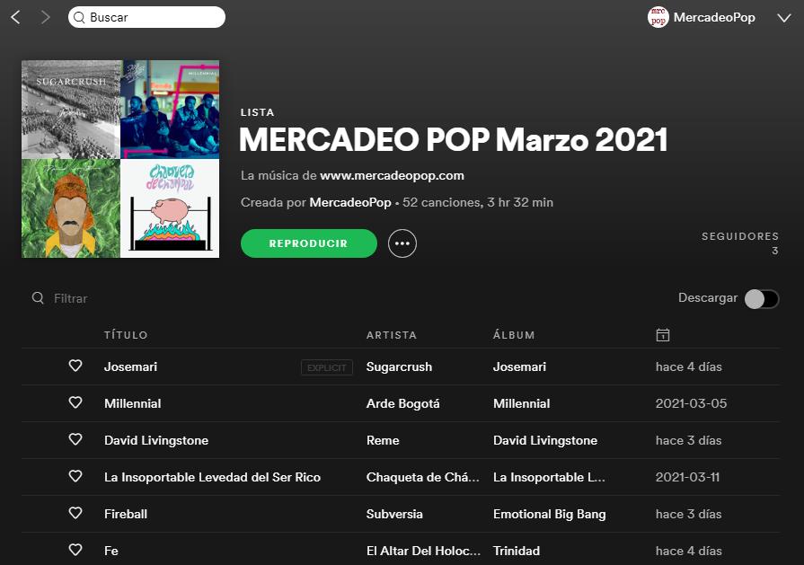 mercadeo pop spotify