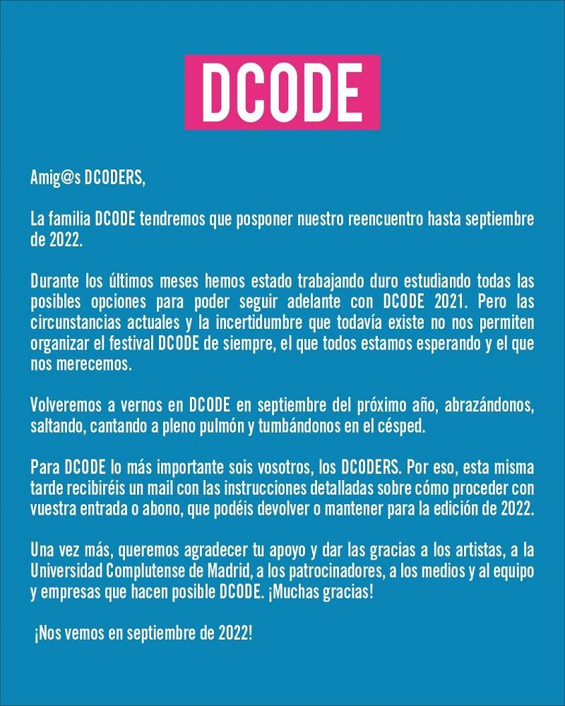 aplazado el dcode hasta 2022